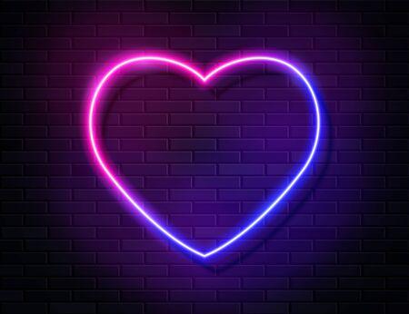 Modern Neon Iridescent Glowing Heart Banner on Dark Empty Grunge Brick Background. Vector Vintage Purple Pink Blue Colored Heart Sign. Retro Neon Valentines Day Symbol