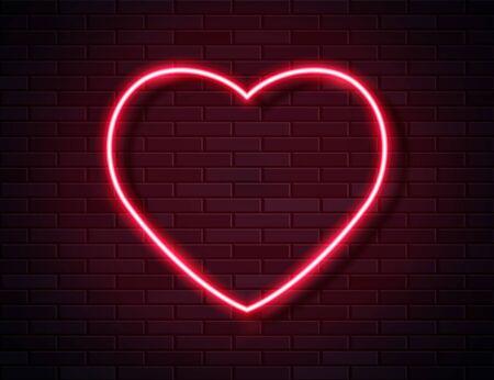 Neon Red Glowing Heart Banner on Dark Empty Grunge Brick Background.
