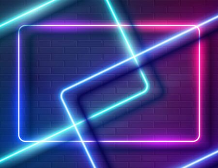 Neon Glowing Rectangle Frame for Banner on Dark Empty Grunge Brick Background