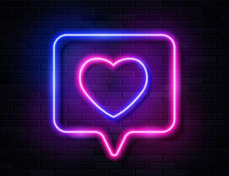 Neon Gradient Glowing Heart in Spech Bubble Banner on Dark Empty Grunge Brick Background. Ilustracja