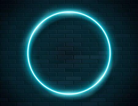 Neon Glowing Circle Green Frame for Banner on Dark Empty Grunge Brick Background