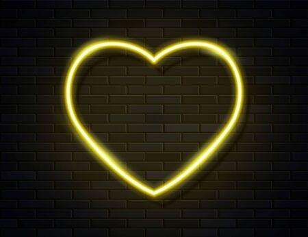 Modern Neon Yellow Glowing Heart Banner on Dark Empty Grunge Brick Background. Vector Vintage Golden Heart Sign