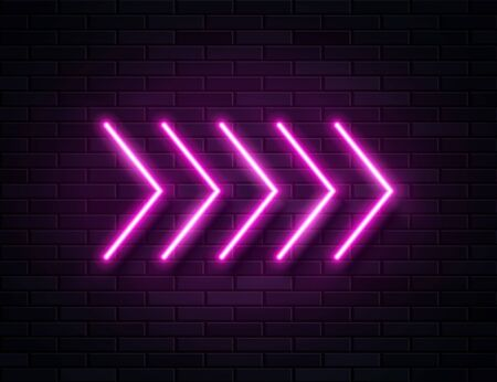 Futuristic Sci Fi Modern Neon Pine Glowing Arrows Frame for Banner on Dark Empty Grunge Concrete Brick Background.