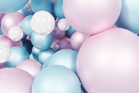 Blue futuristic background with abstract 3D shape of the balls. 3d rendering