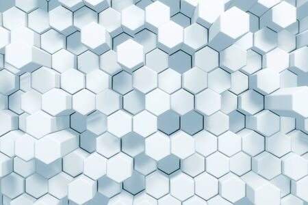 Abstract White Hexagonal Waving Surface Sci-Fi Background