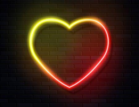 Neon Iridescent Glowing Heart Banner on Dark Empty Grunge Brick Background. Zdjęcie Seryjne