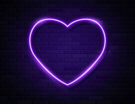 Modern Neon Purple Glowing Heart Banner on Dark Empty Grunge Brick Background. Vector Vintage Violet Heart Sign. Retro Neon Valentines Day Symbol