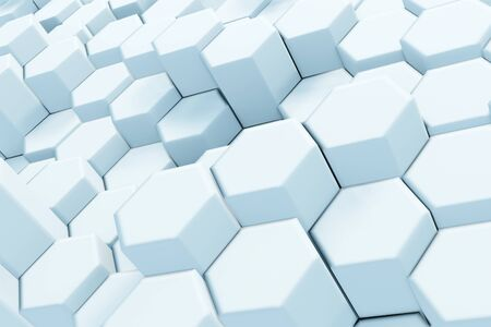 Abstract White Hexagonal Waving Surface Sci-Fi Background. Minimalistic architectural backdrop made of hexagons. 3d render illustration