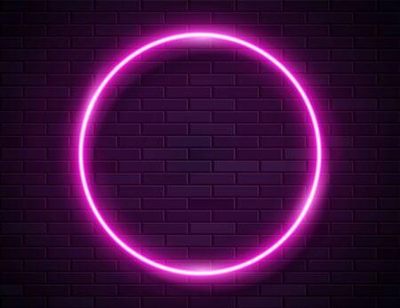 Neon Glowing Circle Pink Frame for Banner on Dark Empty Grunge Brick Background