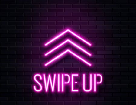 Futuristic Sci Fi Modern Neon Pink Glowing Arrows Swipe Up Banner on Dark Empty Grunge Concrete Brick Background. Ilustracja