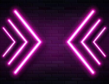 Futuristic Sci Fi Modern Neon Pink Glowing Arrows Frame for Banner on Dark Empty Grunge Concrete Brick Background.