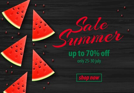 Summer Sale promo web banner with Watermelon Slices on Dark Wooden Background. Top view Vector illustration with special discount offer.