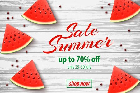 Summer Sale promo web banner with Watermelon Slices on White Wooden Background. Top view Vector illustration with special discount offer.