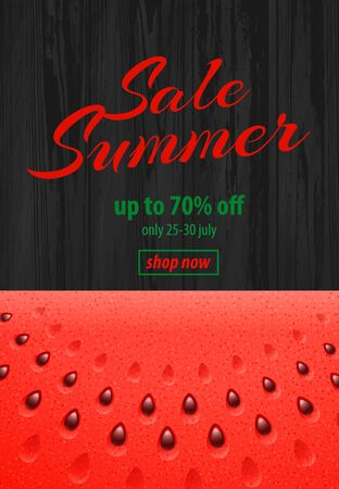 Summer Sale banner with Watermelon on Wooden Background