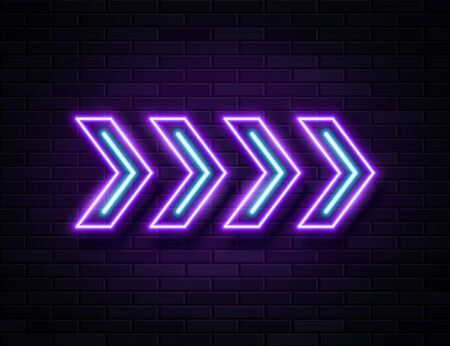 Futuristic Sci Fi Modern Neon Violet Glowing Arrows Frame for Banner on Dark Empty Grunge Concrete Brick Background. Vector Vintage Purple Blue Colored Directions Lamp. Retro Neon Sign