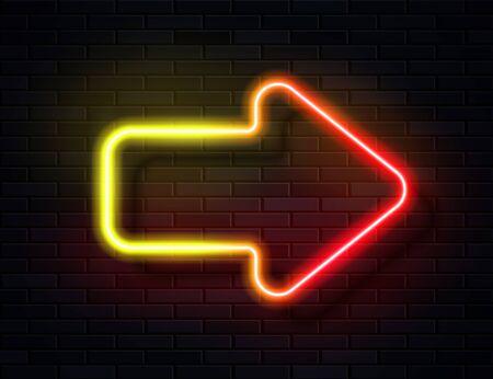 Vector Futuristic Sci Fi Modern Neon Red Yellow Gradient Glowing Arrow