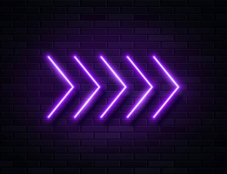 Futuristic Sci Fi Modern Neon Violet Glowing Arrows Frame for Banner on Dark Empty Grunge Concrete Brick Background. Ilustracja