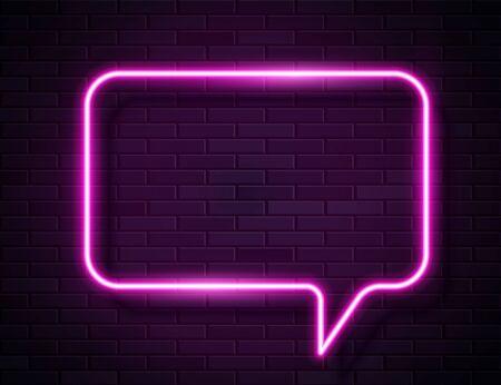 Vector Neon Pink Glowing Speech Bubble Sign