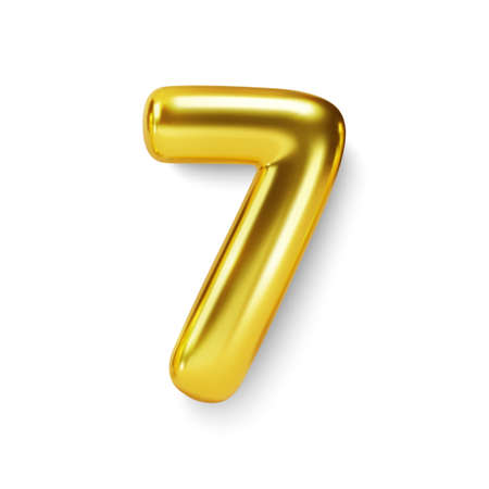 Golden Number Balloon 7 Seven. Vector realistic 3d character