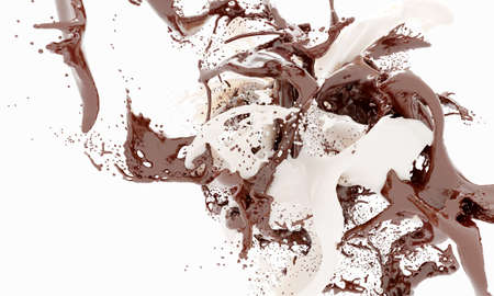 Dark chocolate and white milk splashes isolated on white background