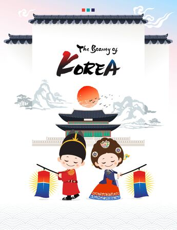 Beautiful Korea. Welcome to Korea, children's characters dressed in traditional fences and palace hanbok.