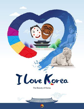 Beautiful Korea. Traditional cultural assets, mask, palace, heart shape brush. I love korea Çizim