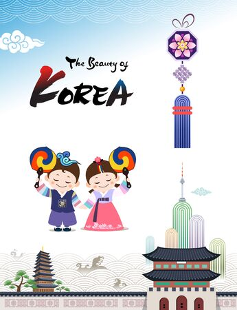 The Beauty of Korea. Korean traditional hanbok child couple character welcomes you to visit Korea with taegeuk fan. Banco de Imagens - 143170922