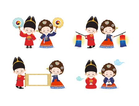 Korean Children in Hanbok during the Joseon Dynasty, King and Queen
