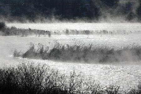 Winter morning landscape of water misty river. Soyang River, Chuncheon City, Korea