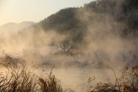Water misty winter morning River landscape. Soyang River, Chuncheon City, Korea