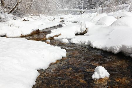 Snow-covered winter forest and brook. Odaesan national park, Gangwon-do, Korea