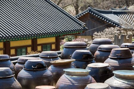 Korean traditional jar and Temple