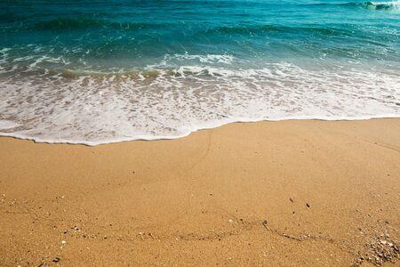 Beautiful sea waves at sandy beach. East Sea of Korea.