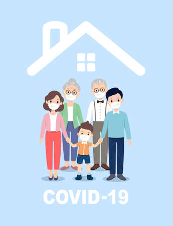 COVID-19 prevention, family wearing masks at home, mom, dad, son
