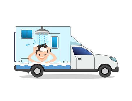 Shower person drawn portable bath car vector illustration