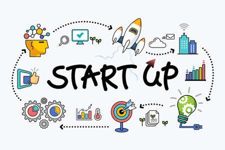 Startup company support, idea development start, business success concept illustration vector Illustration