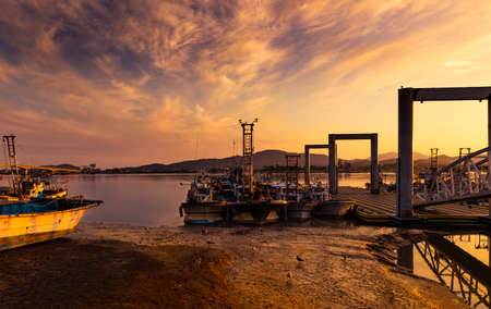 Beautiful sunset and tide sea harbor landscape. Daemyeonghang, Gimpo-si, Gyeonggi-do, South Korea.