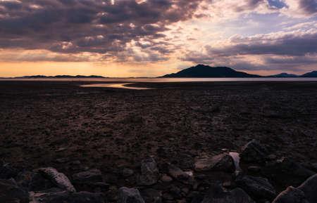 Beautiful sea sunset landscape, light falling through the clouds over the tidal flats. Ganghwa-gun, Incheon, South Korea