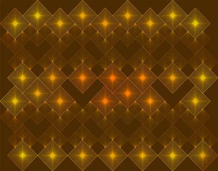 Modern Linear Geometric Pattern. Glowing Golden Dusty Background. Radial Gradient