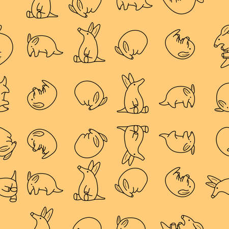 Cute aardvark illustration pattern using line art style