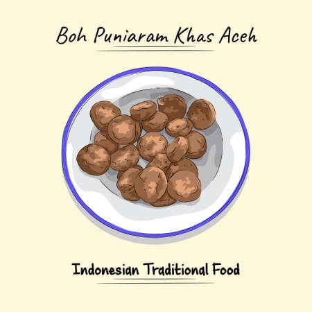Boh Puniaram Illustration Food From Aceh, Indonesia Vecteurs