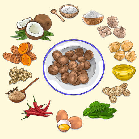 Boh Puniaram & Ingredients Illustration, Food From Aceh Indonesia, Sketch & Vector Style