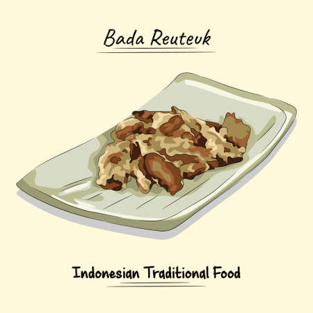 Bada Reuteuk Illustration Traditional Food From Aceh, Indonesia Ilustração