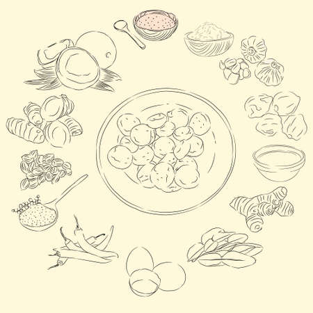 Boh Puniaram Illustration & Ingredients, Food From Aceh Indonesia, Sketch Style