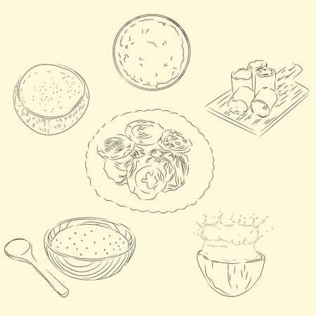 Delicious Doidoi Cakes & Ingredients Illustration, Food From Aceh Indonesia, Sketch Style