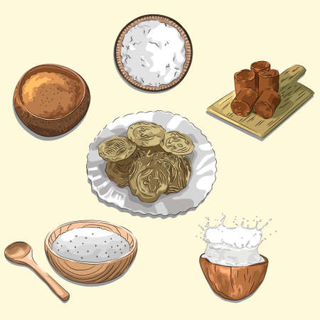 Delicious Doidoi Cakes & Ingredients Illustration, Food From Aceh Indonesia, Sketch & Vector Style