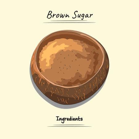 Brown Sugar On Palm Cup Illustration, Ingredients For Cooking Some Food, Sketch & Vector Style Ilustração