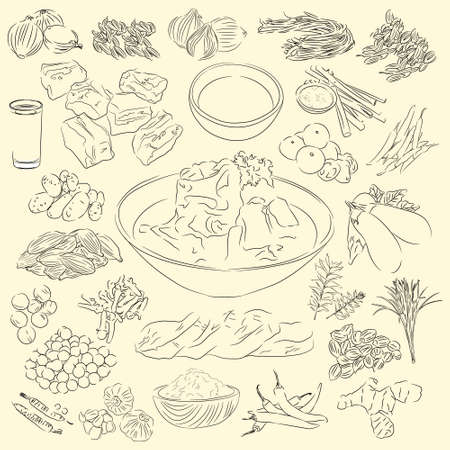 Soup Dalca Illustration & Ingredients, Food From Aceh Indonesia, Sketch Style