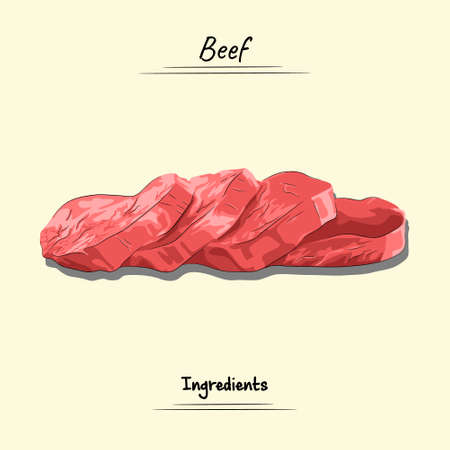 Beef Illustration, Ingredients For Cooking Some Food, Sketch & Vector Style