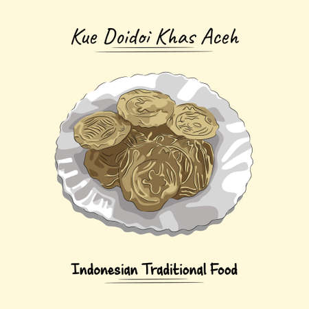 Delicious Doidoi Cakes Illustration Traditional Food From Aceh Besar, Indonesia
